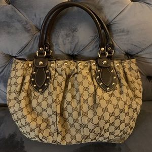 Classic authentic double G Gucci bag brown studded